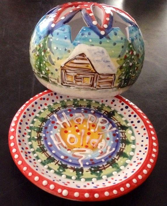 piattino porta candela in ceramica